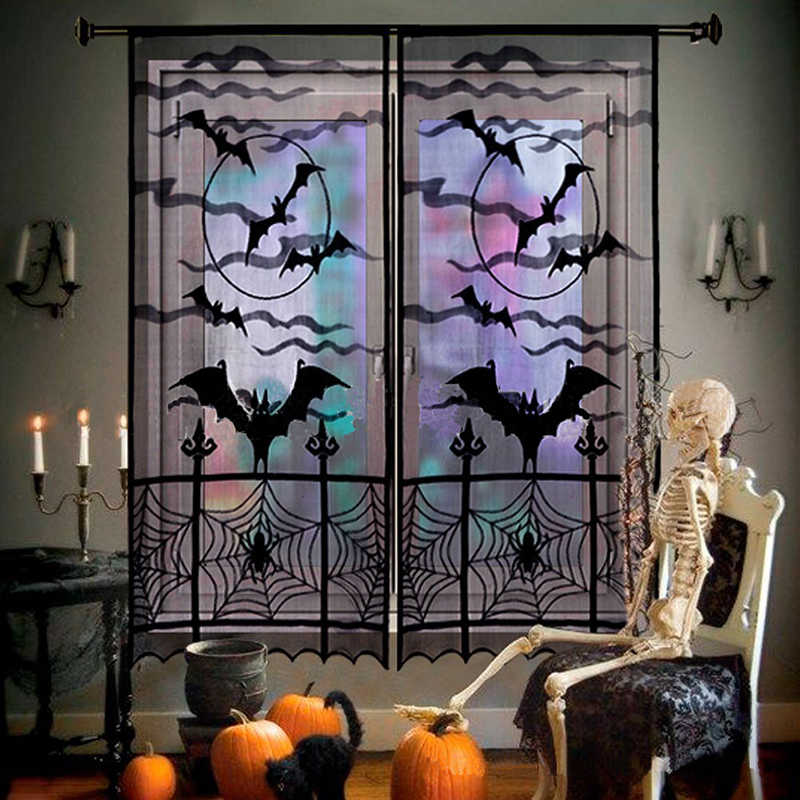 Bat Pattern Lace Door Curtains For Kitchen Black Sheer Curtain Living Room Tulle Window