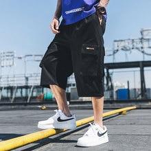 Streetwear Calf-Length Pants Safari Style Multi-Pockets Mens Elastic Waist Straight Large Sizes