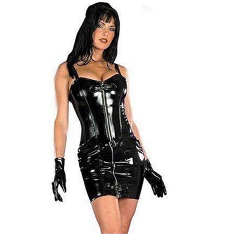 Women Sexy Clubwear Dress Wet Look Faux Leather Bondage Bodycon Dress Plus Size Sleeveless Zipper Latex Nightclub Short Dress plus size women in leather