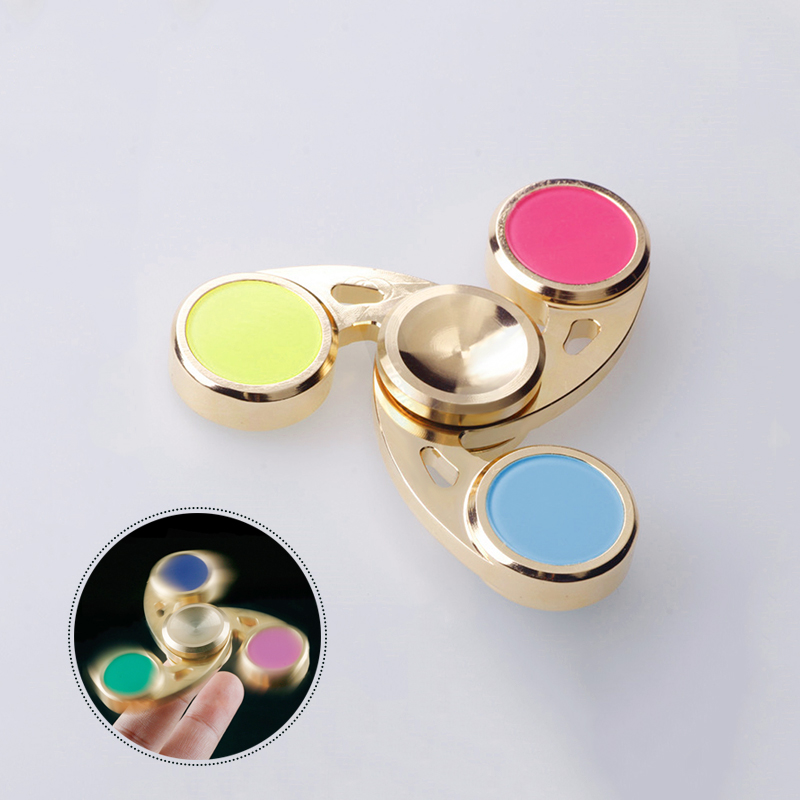 EDC Gyro Tri-Spinner Fidget Hand Spinner Copper Professional Finger Stress Relief Toy For Kids And Autism Children Toys Hobbies