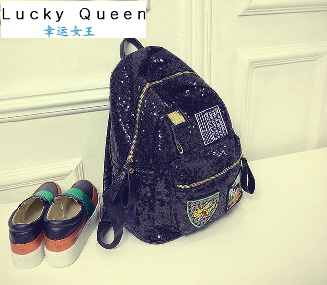 Korean Style Badge Sequins Backpack 2016 Womens Fashion Cute Girls Sequins Backpack Paillette Leisure School BookBags