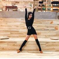 Latin Dance Costume Women Long Sleeve Practice Dance Clothing Latin Dance Competition Dresses Rumba Performance Wear DQL841