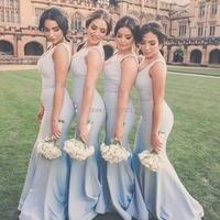 YNQNFS BD26 Chic V Neck Simple Mermaid Light Sky Blue Bridesmaid Dresses Long