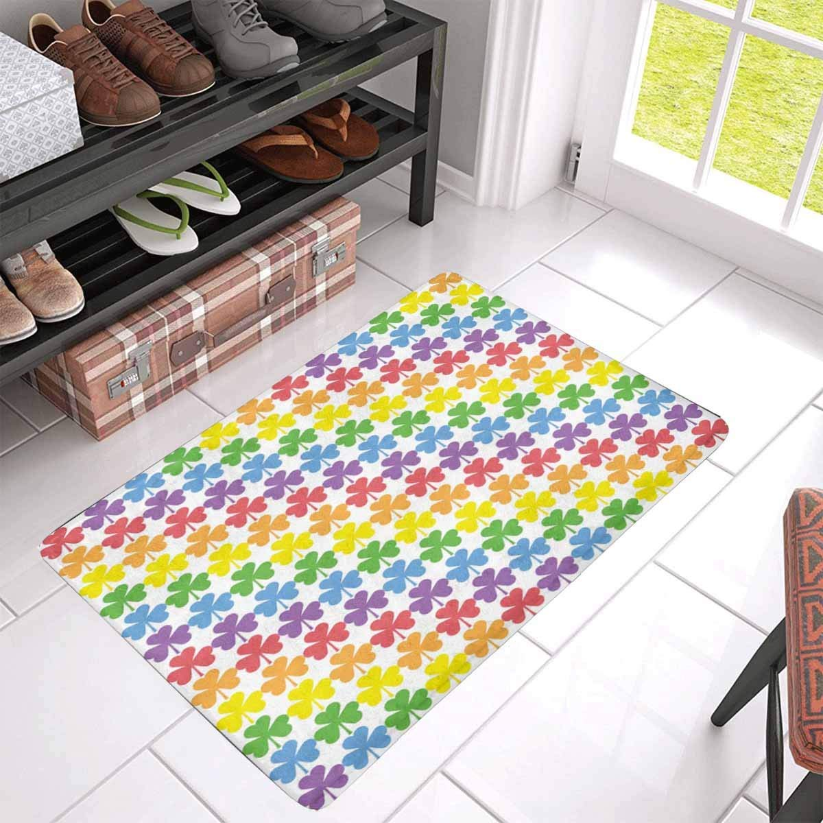 Rainbow colors shamrock stripes indoor doormat latex backing non slip door mat entrance rug 30