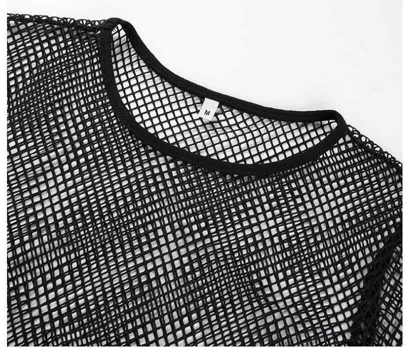 مثير الأسود الجوف خارج شبكة تي شيرت الإناث نحيل المحاصيل أعلى 2018 جديد أزياء الصيف الأساسية قمم للمرأة شبكة صيد السمك قميص