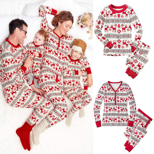 5e46d22e37 2018 Winter Family Christmas Pajamas Baby Kids Mom Dad Clothes Home Wear Pajamas  Family Matching Clothes Christmas Clothes