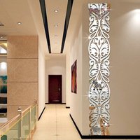 Rectangular Crystal Acrylic Mirror Flowers Wall Sticker 28*157cm Home Decor Self adhesive Mural Lace Waist Line Wall Art Decals