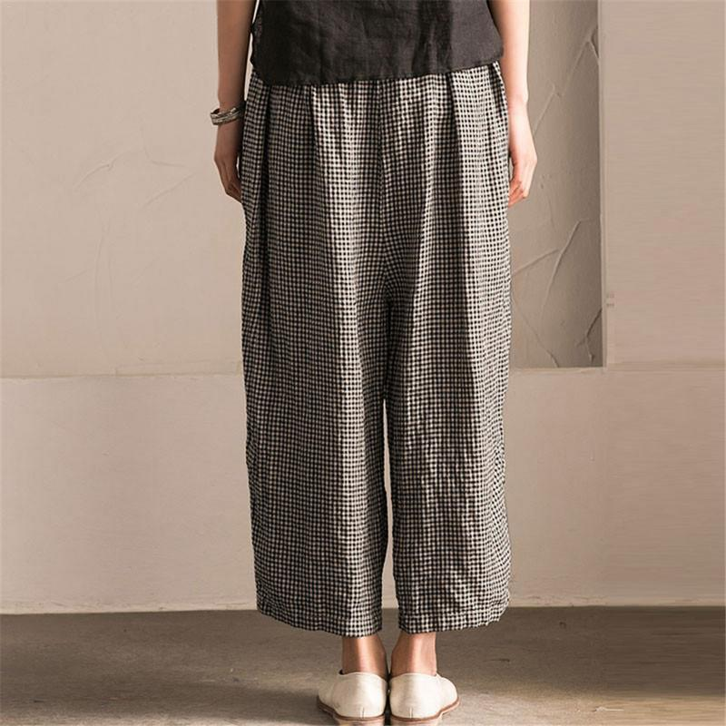 Women Wide Leg Pants Summer Big Size Plaid Black Elastic Waist Oversized Casual Loose Long Pants Female Large Trousers