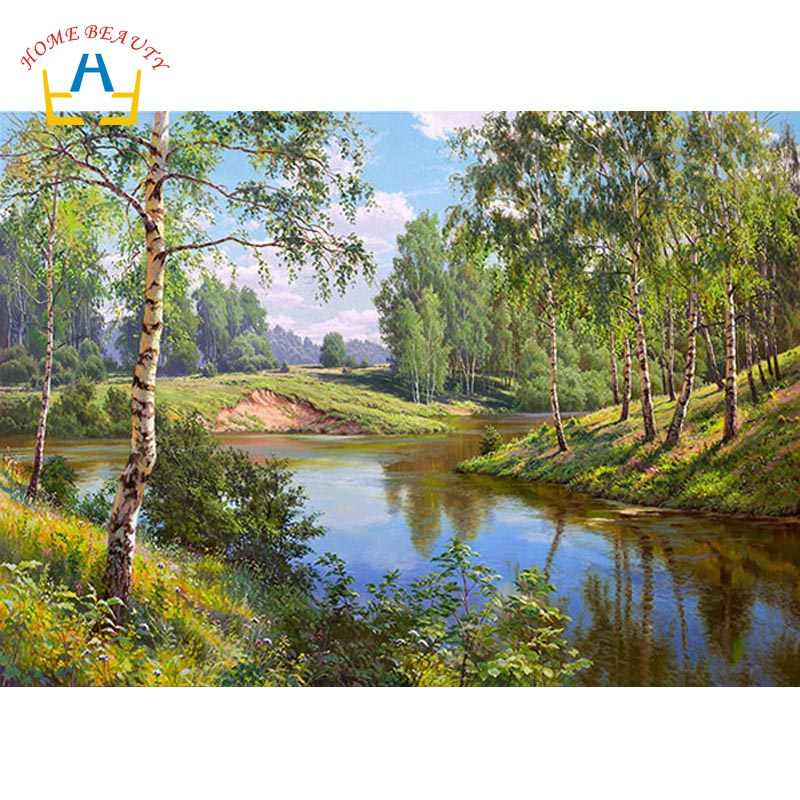5d diy diamond painting full drill resin diamond embroidery forest river cross stitch for living room wall home decoration AB382