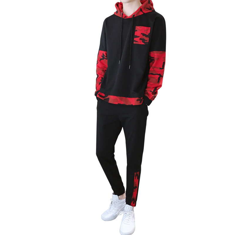 Sports suit (hooded sweatshirt + casual pants) two-piece autumn mens hooded camouflage stitching sweatpants
