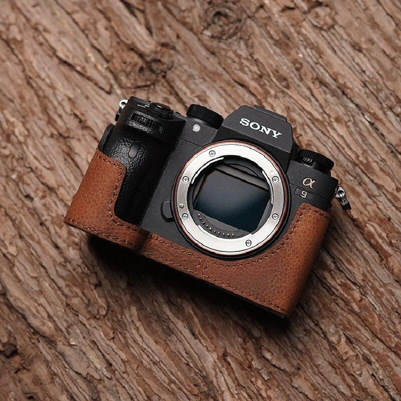 M. Stone étui en cuir véritable pour appareil photo demi-sac vidéo fait à la main pour Sony A9 A7 III A7 Mark III rétro Vintage boîtier inférieur
