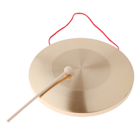 Metal Hand Gong Traditional Instrument Cymbal with Round Play Hammer Kids Educational Toys 30cm Diameter