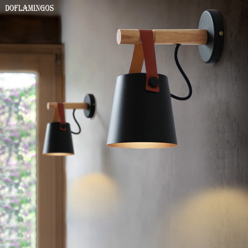 LED Wall Lamps Abajur for Living Room Wall Sconces Light E27 Nordic Wooden belt Wall Light White/Black