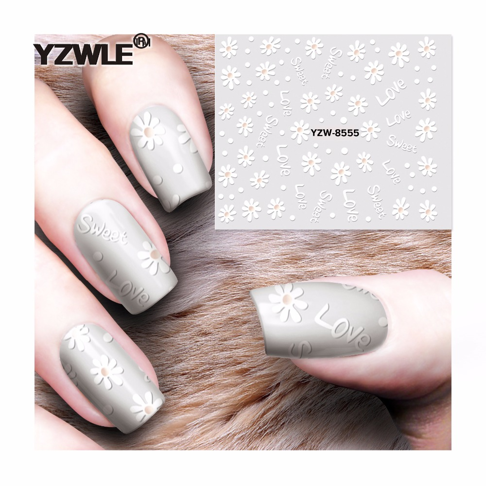 YZWLE 1 Sheet DIY Decals Nails Art Water Transfer Printing Stickers Accessories For Manicure Salon  YZW-8555 yzwle 1 sheet nail art stickers animal pattern 3d mysterious black cat designs water transfers decals diy decoration accessories