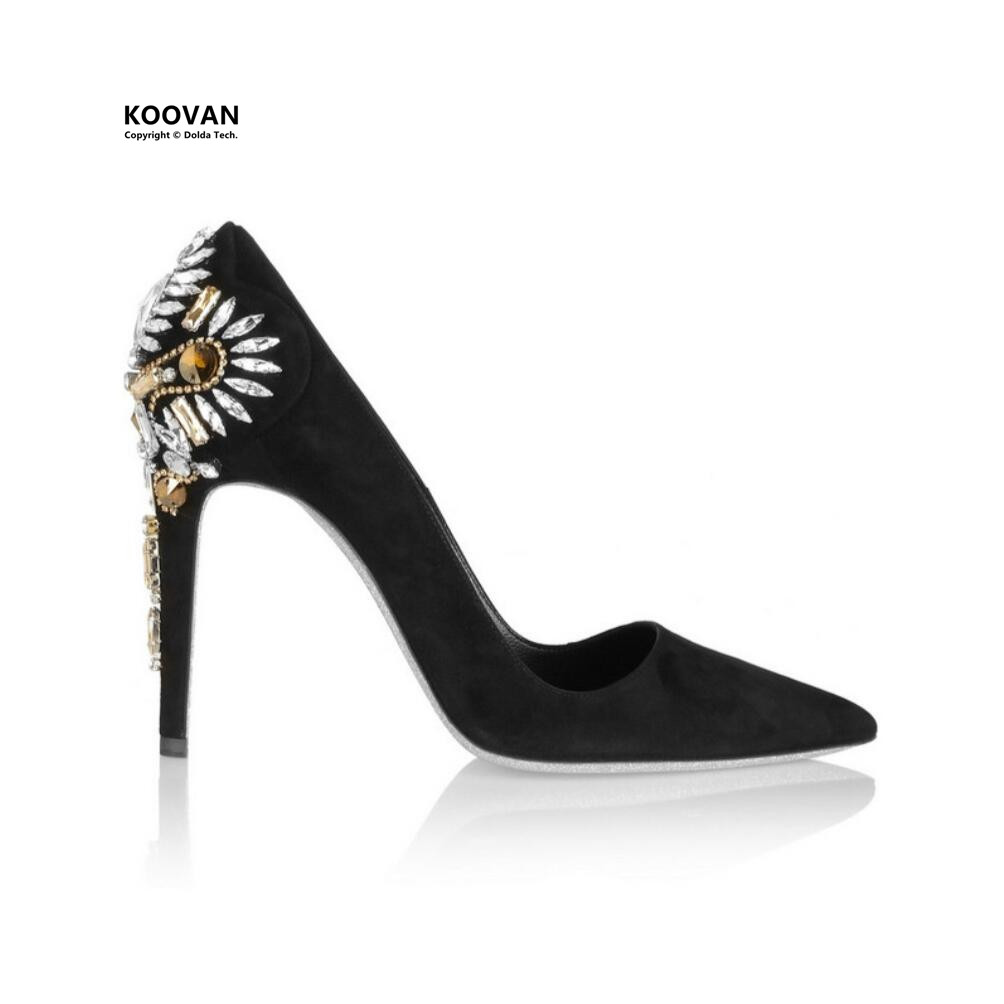 ФОТО Koovan Women Pumps 2017 New Fashion Women Shoes Fine Leather Shoes Pointed High Heels Diamond Woman Wedding Shoes With Black