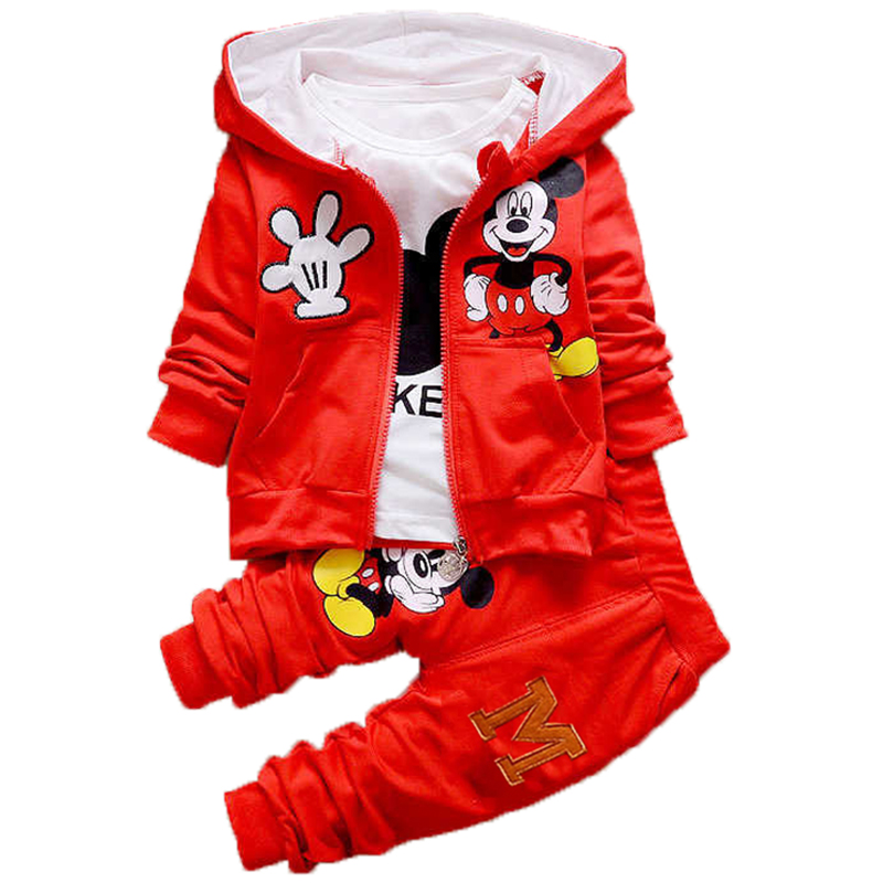 Boys Girls Sport Suit 1-4Y Baby Kids Minnie Mickey Clothes Children Kids Cartoon Long Sleeve T Shirt Trousers Pants Clothing Se summer children s tracksuits stripped short sleeve t shirt boys clothing set cropped trousers two piece suit kids clothes