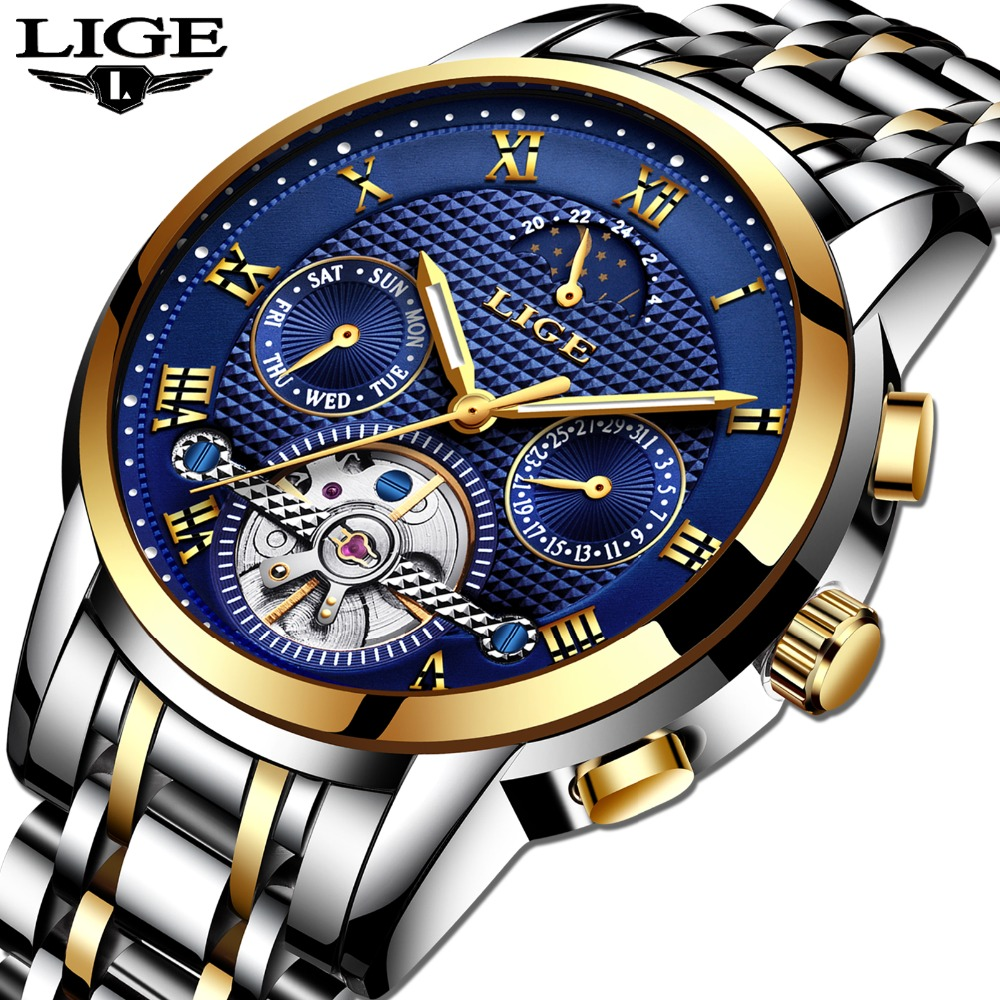 Mens Watches Top Brand LIGE Luxury Automatic Mechanical Watch Men Full Steel Business Waterproof Sport Watches Relogio Masculin mce top brand mens watches automatic men watch luxury stainless steel wristwatches male clock montre with box 335