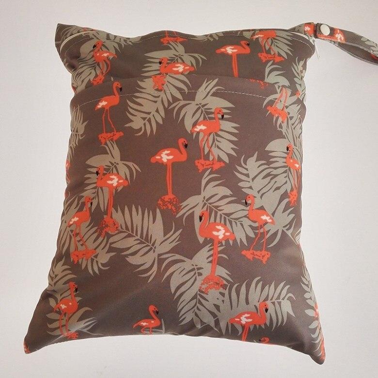 [Sigzagor] 1 Влажная сухая сумка с двумя молниями для детских подгузников, водонепроницаемая сумка для подгузников, розничная и, 36 см x 29 см, на выбор 1000 - Цвет: W106 flamingo