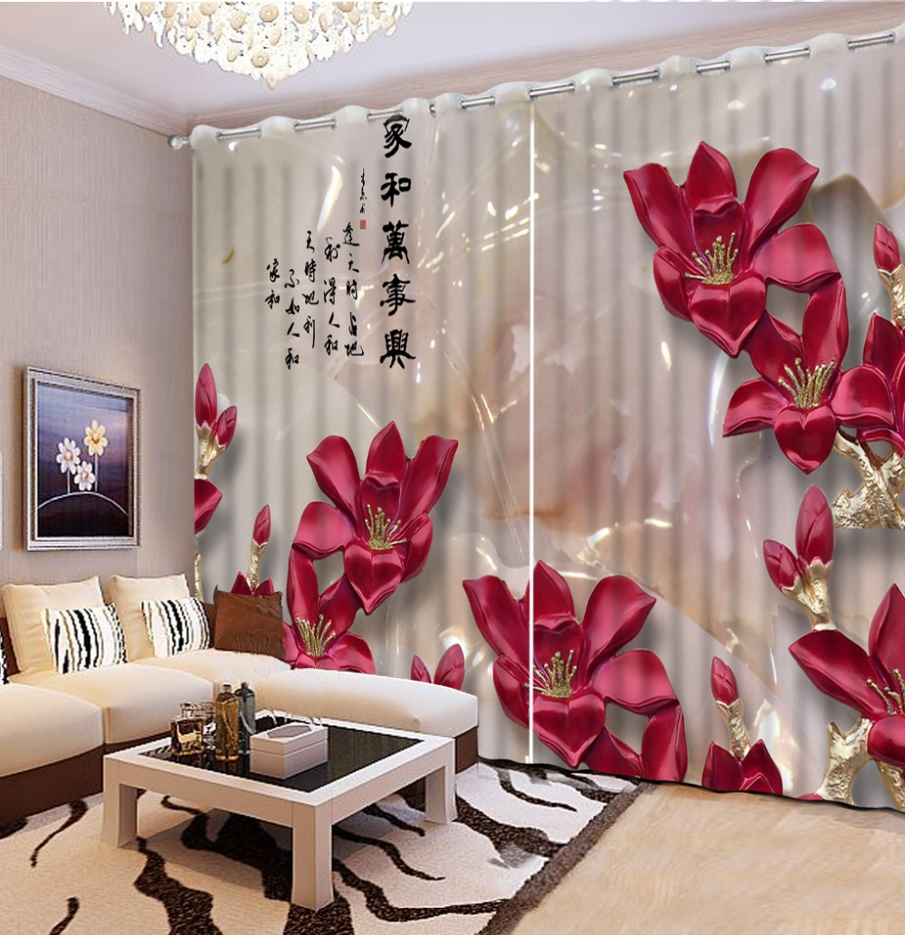 Red curtains for living room - Luxury Modern Curtains Photo Printing Blackout 3d Curtain Living Room Bedroom Hooks Polyester Red Marble Flower