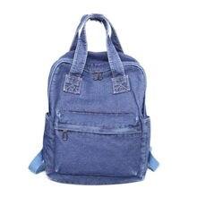 05ce9719a4f9 Meloke 2018 Горячая джинсовые рюкзаки для девочек в винтажном стиле Большие  размеры школьные сумки повседневные дорожные