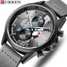 Mens Sports Watch with Chronograph CURREN 2019 Leather Strap Watches Fashion Quartz Wristwatch Business Calendar Clock Male