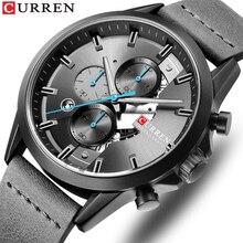 Relógio esportivo masculino com cronógrafo curren 2019 pulseira de couro relógios moda quartzo relógio de pulso calendário de negócios masculino