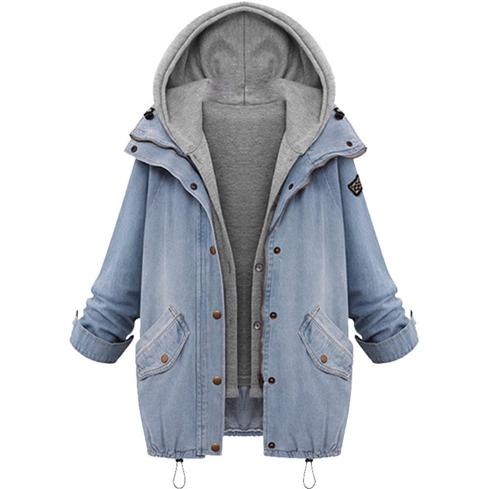 Winter Fashion Womens Warm Collar Hooded 2018 Coat Jacket Buttons Female Denim Trench Parka Outwear Solid