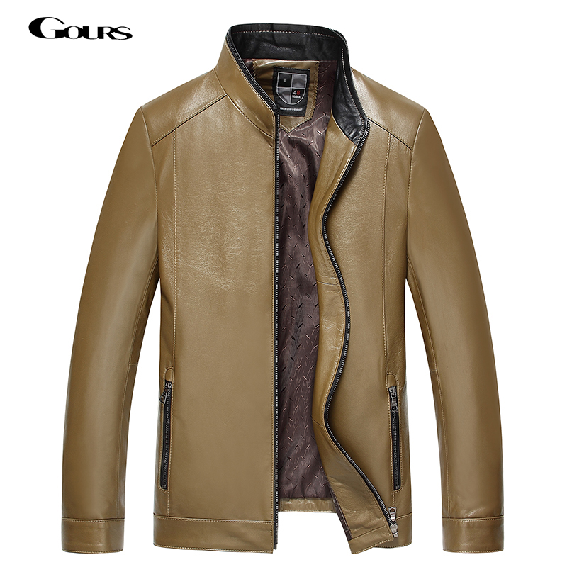 Gours Fall and Winter Mens Genuine Leather Jacket Brand Male Clothing Sheepskin Leather Jacket and Coats 2018 New Arrival 4XL