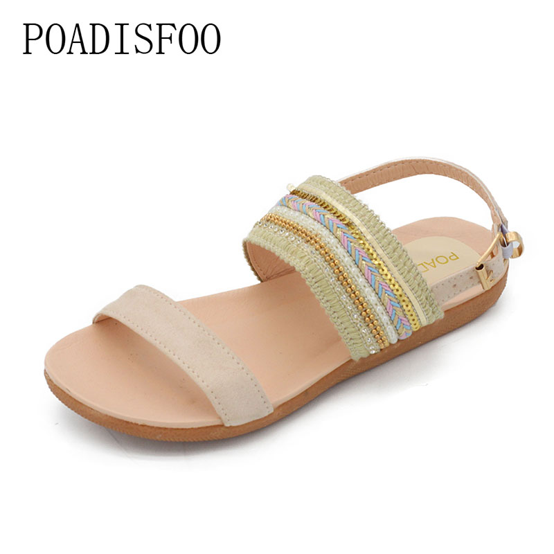 POADISFOO 2018 Women Size Plus Size Crystal Sandals 4 comfy women's flat with beads For Women plus size 42 .HYKL-2711 brief plus size buttoned horizontal line pineapple embellished shirt for women