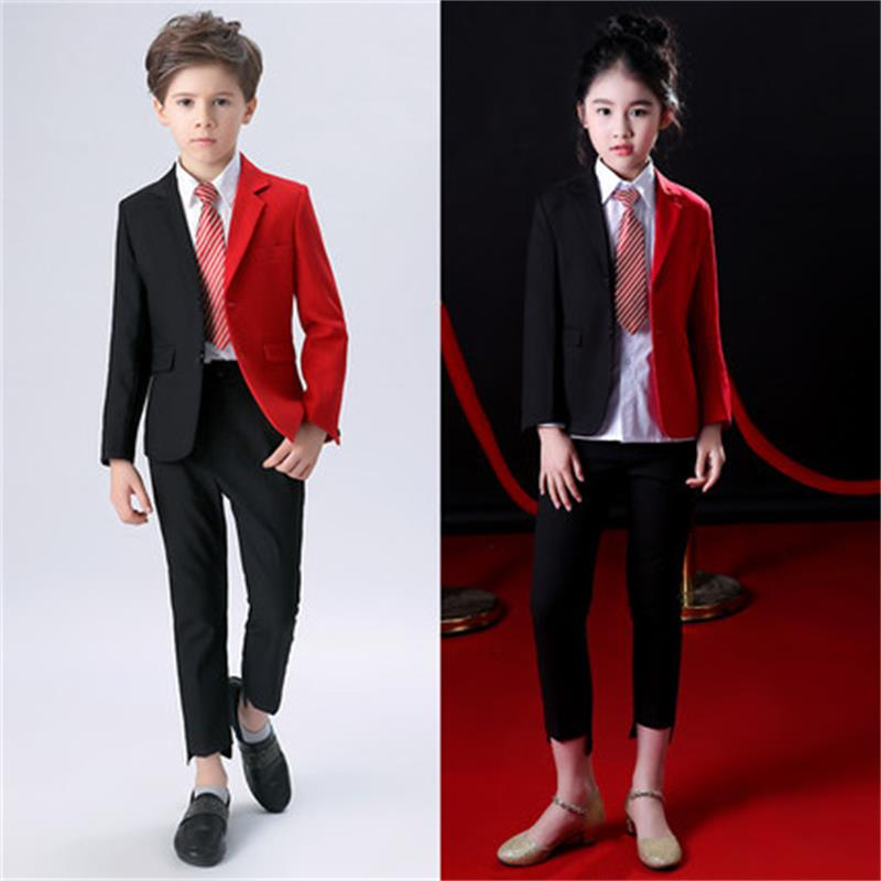 Children's suits boys personalized dress big children girls suit catwalk show performance dress model fashion
