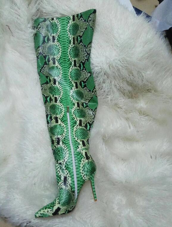 Imprimé Talons En Serpent Cuissardes Chaussures Hiver Vert Éclair Haute Bottes Cuir Longues Pointu Sexy Hauts Femmes Toethigh Fermeture CwZqn4At