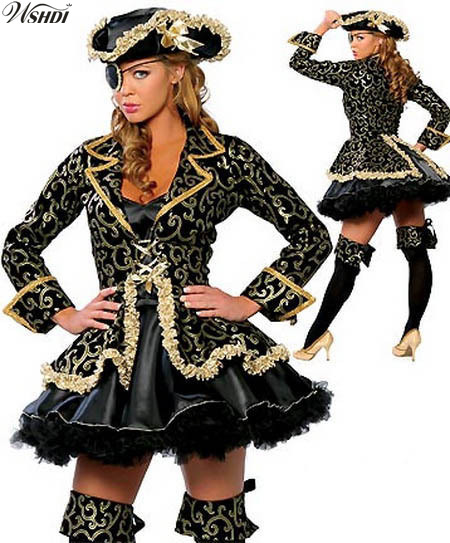 Deluxe Black Gold Sexy Caribbean Pirate Warrior Costume Women Halloween Party Cosplay Fantasy Dress Stage Performance Costume