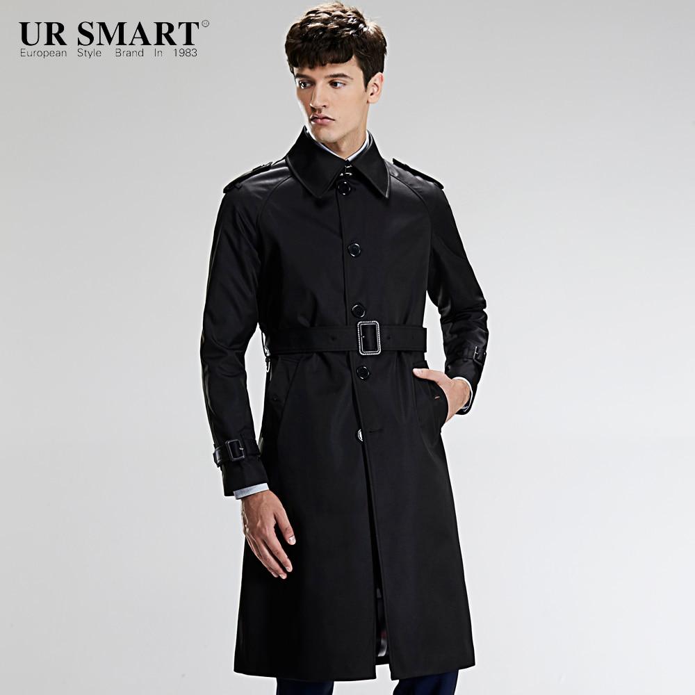 URSMART single-breasted super long men's windbreaker waist style black male trench coat
