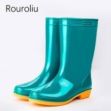 Rouroliu Women Non-Slip PVC Rainboots Waterproof Water Shoes Woman Mid-Calf Rain Boots Slip-on Wellies  RB72