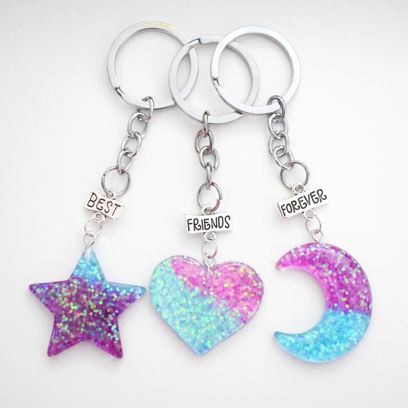 Resin Glitter Star Moon Heart Pendant Best Friends Forever BFF Key Chains Kids Key Ring Friendship Gifts For Girls,Boys 3pcs/lot