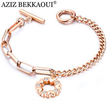 AZIZ BEKKAOUI Rose Gold Flower Crystal Bracelets for Women Ladies Stainless Steel Charms Bracelets & Bangles Femme Jewelry Gift(China)