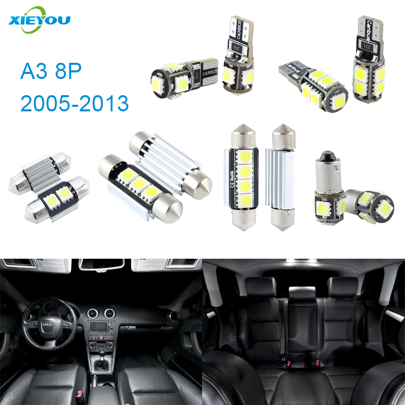 XIEYOU 12pcs LED Canbus Interior Lights Kit Package For Audi A3 8P (2005-2013) cawanerl car canbus led package kit 2835 smd white interior dome map cargo license plate light for audi tt tts 8j 2007 2012