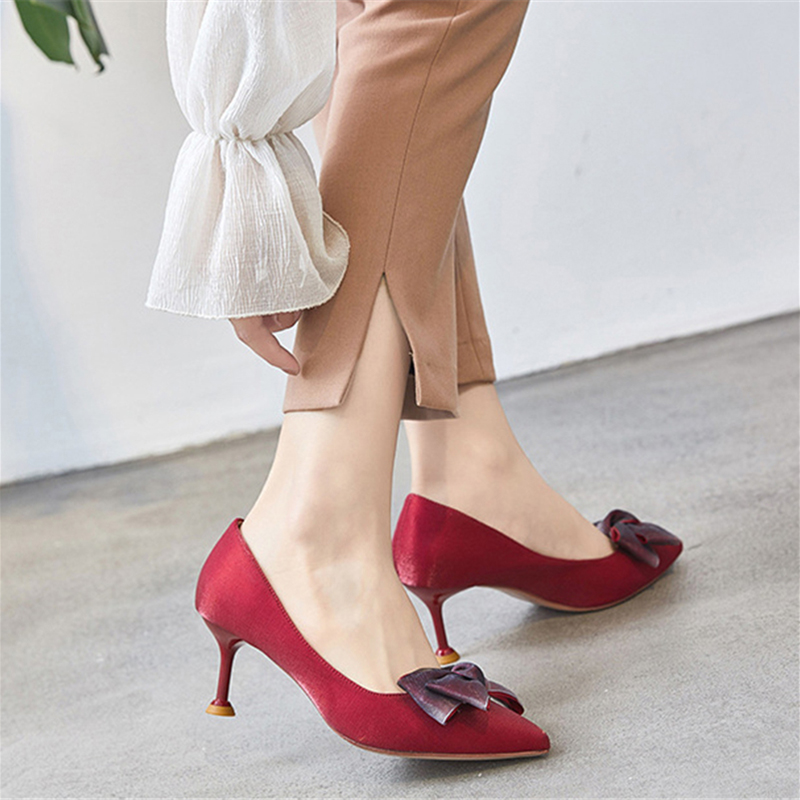 Pumps Women Shoes 6cm High Cat Heels Red Satin Bow Tie Stiletto Pumps Fashion Ladies Shoes Office Casual Sexy Women Footwear the headless horseman