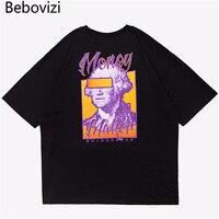 Bebovizi Brand New Designer Summer Oversize Trend Street Wear Short Sleeved Funny Tshirt Moeny Print Hip
