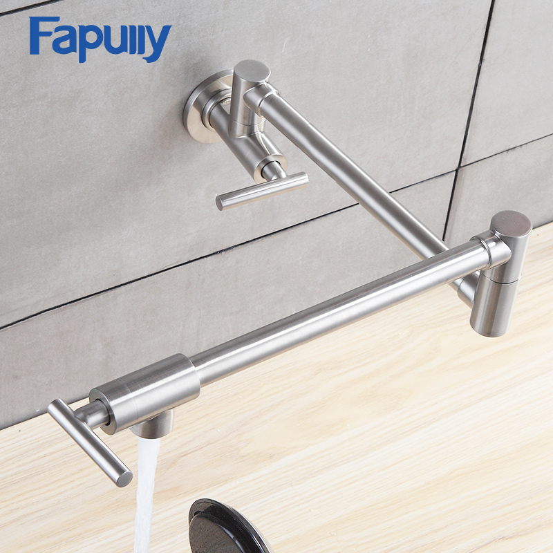 Fapuly Kitchen Tap Wall Mounted Pot Filler Faucet Double Joint Spout Brushed Nickel Mixer Taps Single Handle Kitchen Faucet 501