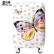 Cartoon20 24 28 butterfly print universal wheels trolley luggage travel bag luggage girls drag boxes ty0,abs pc trolley luggage