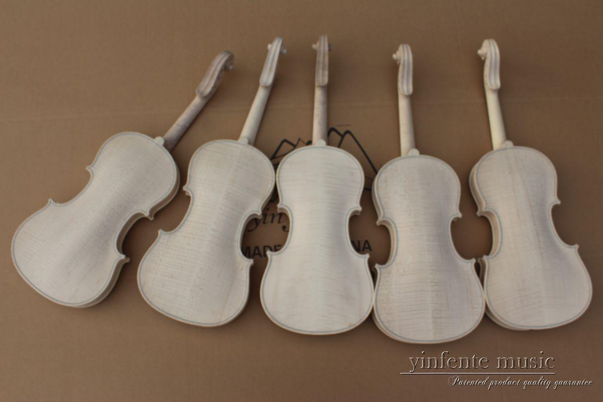 5pcs 4 4 unfinished violin flame maple back Russian spruce top Hand made parts