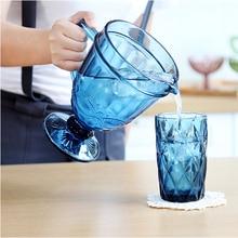 Three-piece Set European Cold Tea kettle Set Embossed Creative Glass Milk Juice Tea Pot Set 1300 ml Water Pot 2 pcs 350ml Cups pot still set