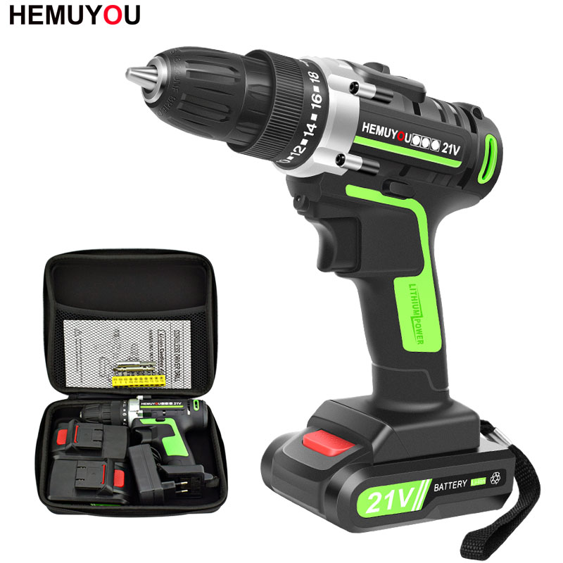 21V Power Tools Rechargeable Lithium Battery*2 Mini Cordless Electric Drill Multifunction Electric Screwdriver 2 Speed +12 Drill-in Electric Drills from Tools