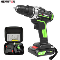 21V Power Tools Rechargeable Lithium Battery*2 Mini Cordless Electric Drill Multifunction Electric Screwdriver 2 Speed +12 Drill