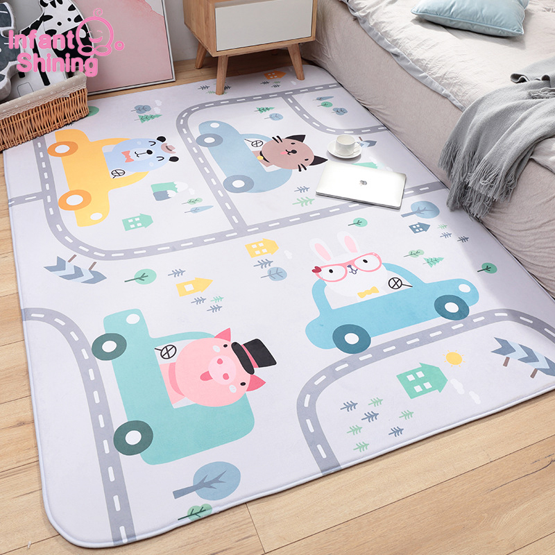 Infant Play Mat | Infant Shining Thickened Baby Play Mat 150X200CM/59X79IN Cartoon Carpet Non Slip Living Room Rug Carpet Machine Washable