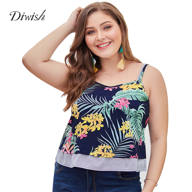 Diwish Women Print Tank Top Holiday Casual V Neck Summer Tops Spaghetti Strap Cross Back Tank Tops Women Summer Plus Size XL-4XL
