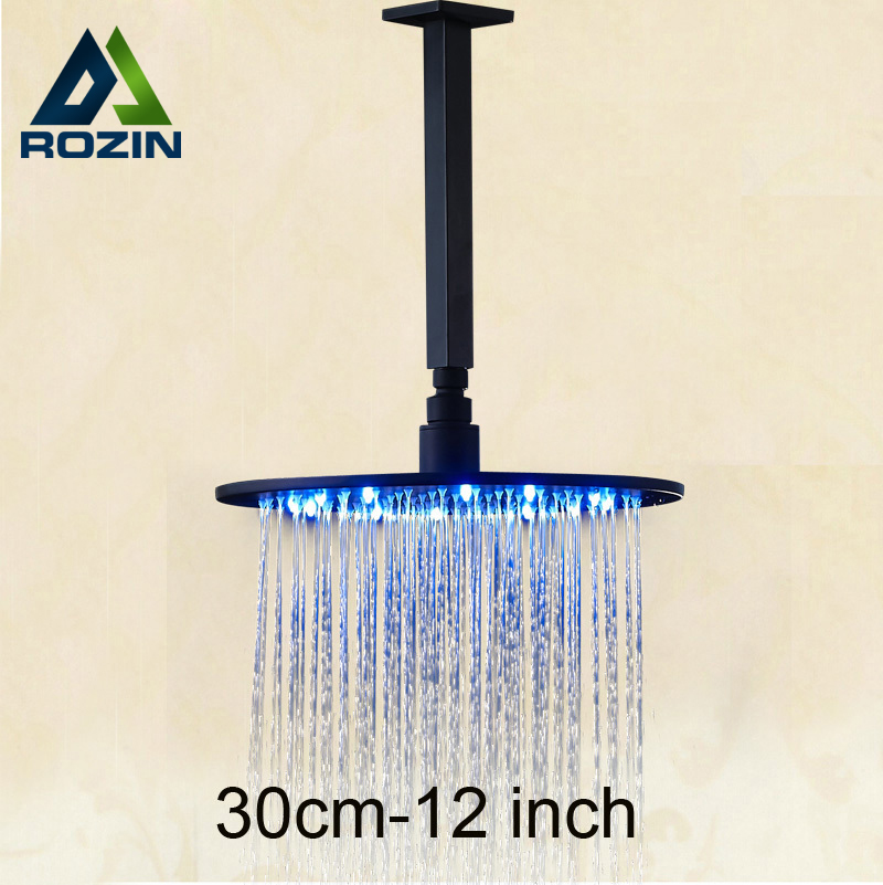 Oil Rubbed Bronze 12 Brass LED Light Rainfall Shower Head + Ceiling Mounted Shower Arm allen roth brinkley handsome oil rubbed bronze metal toothbrush holder