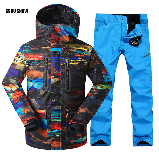 2018 FREE SHIPPING Guarantee Authentic Male Ski Suits Jacket+Pants Men's Water Proof Thermal Cottom- Padded Snowboard Gsou Snow