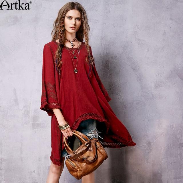 Artka женская весна новая этническая вышивка асимметричный подол платья о-образным шею три четверти рукав платья с кисточкой LA10763C